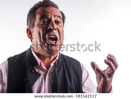 Angry man gesticulating - stock photo