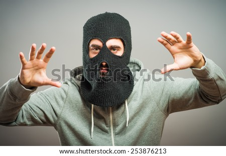 Angry man in the mask - stock photo