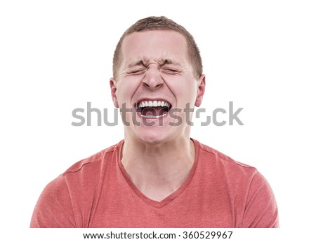 Angry man isolated on a white background screaming. - stock photo
