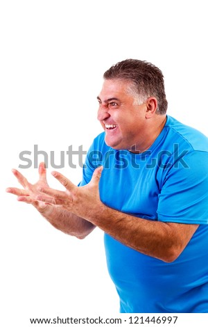 Angry man screaming at something/someone, isolated on white background - stock photo