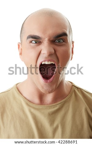 Angry man screaming, isolated on white - stock photo
