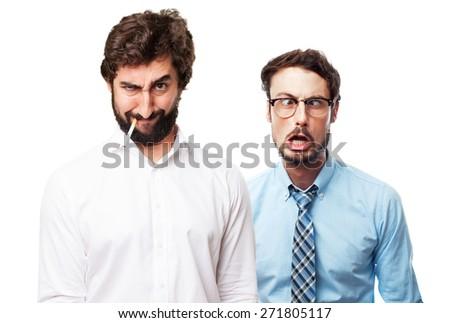 angry man smoking - stock photo