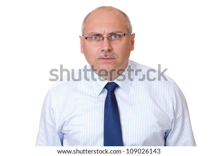 Angry mature businessman isolated on white background - stock photo