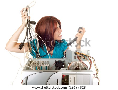 angry red hair woman phoning technician support for help - stock photo