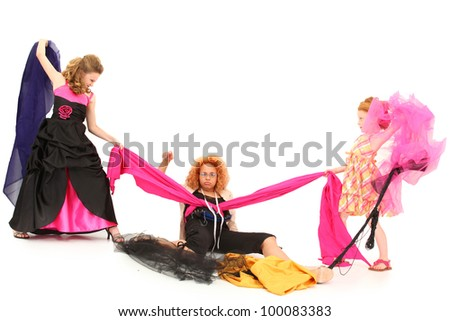 Angry Selfish Pageant Girls Fighting Over Fabric and Dress Designer Over White - stock photo