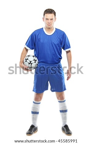 Angry soccer player with a ball isolated against white background - stock photo