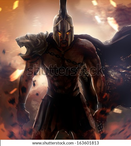 Angry spartan warrior with armor and broken chains. - stock photo