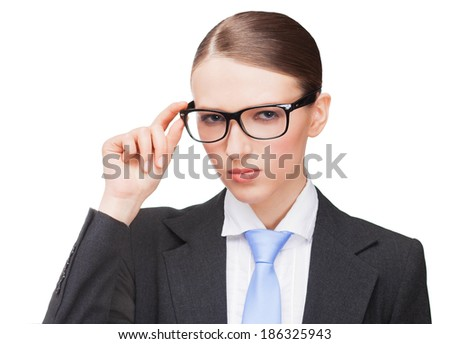 Angry strict woman wears glasses - stock photo
