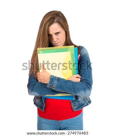 Angry student over isolated white background - stock photo