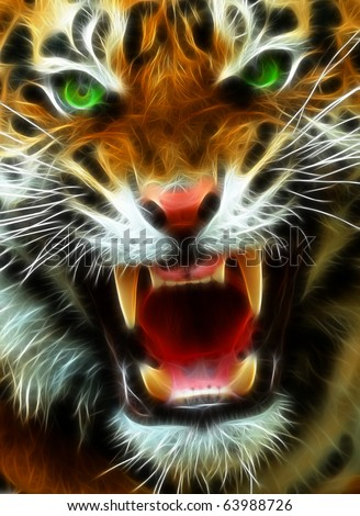 Angry Tiger A fractal filtered image of an angry Bengal Tiger. Vertical. - stock photo