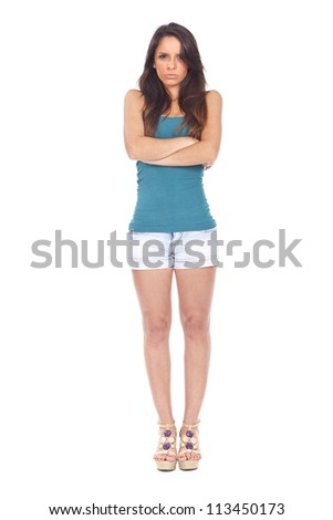 Angry upset ethnic woman model. Isolated on white background - stock photo