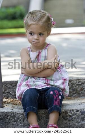 Angry, Upset little Girl - stock photo