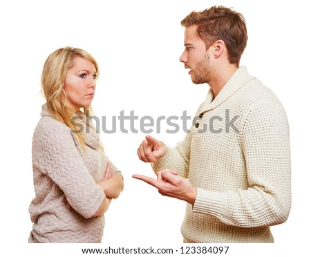 Angry wan discussing with his woman in a relationship - stock photo