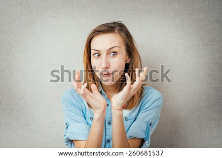 angry woman. isolated on gray background - stock photo