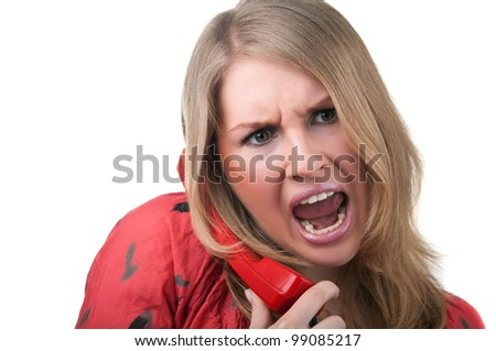 angry woman shouting to phone isolated on white background - stock photo