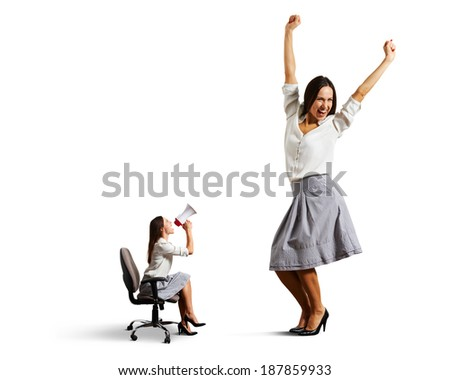 angry woman with megaphone and big jolly woman. isolated on white background - stock photo