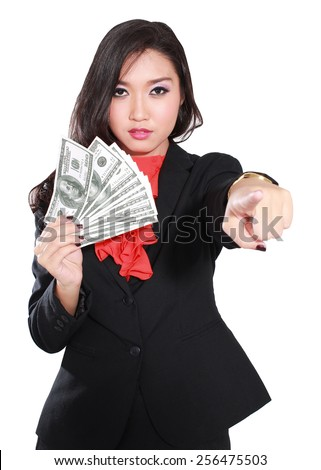 angry women entrepreneurs bring money and pointing, isolated on white background - stock photo