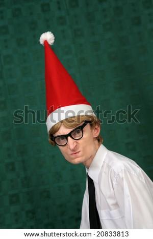 Angry Xmas nerd - stock photo