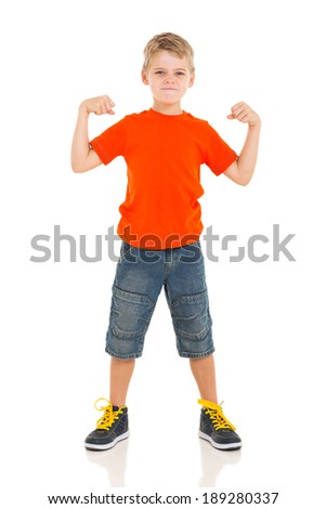 angry young boy with fists clenched isolated on white - stock photo