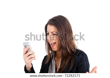 Angry young business woman yelling at her phone isolated over white - stock photo
