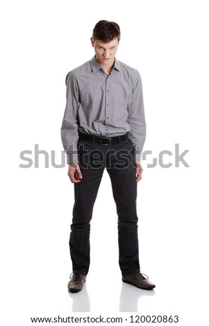 Angry young businessman , isolated on white background - stock photo