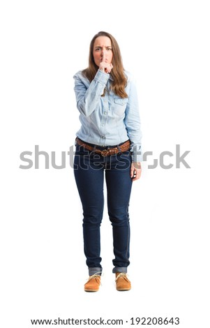 angry young girl - stock photo