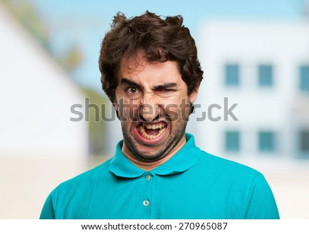 angry young man - stock photo