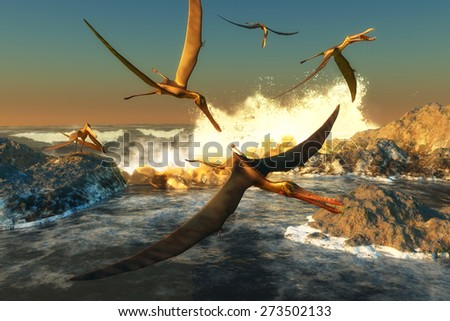 Anhanguera Fishing - A flock of Anhanguera flying dinosaur reptiles catch fish off a rocky coast in prehistoric times. - stock photo
