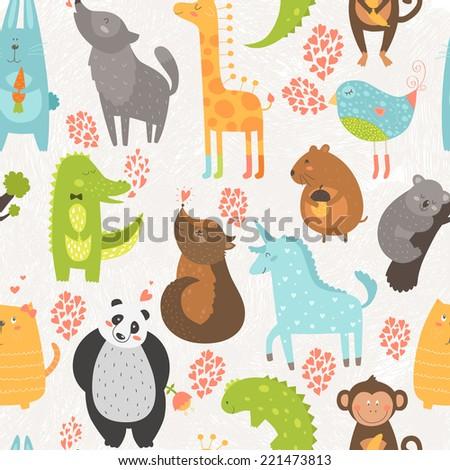 Animal background with cute bird, alligator, dog, giraffe, rabbit, vole, panda, monkey, wolf, unicorn, koala and cat. Zoo love seamless pattern isolated on hand drawn background - stock photo