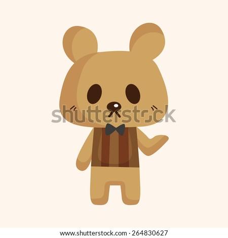 animal bear waiter cartoon theme elements - stock photo