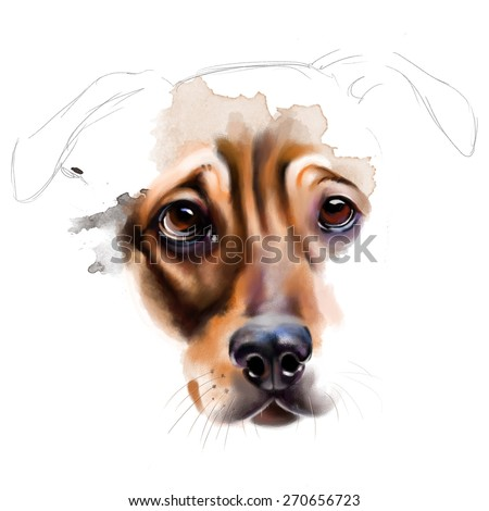 Animal collection: portrait of a sad dog, isolated on a white background, watercolor illustration - stock photo