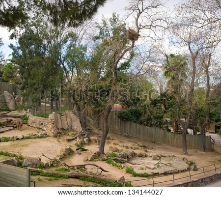Animal enclosure in a zoo - stock photo