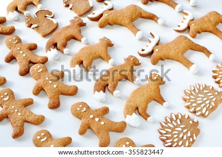 Animal gingerbread cookie - stock photo