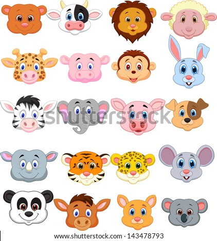 Animal head cartoon collection set - stock photo