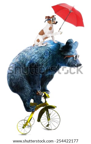 animal illustration / bear cycle/Circus show illustration. Performance of the bear on bike/Hand drawn Illustration.  Bear and dog / T-shirt graphics / cute cartoon characters. bear book illustrations - stock photo
