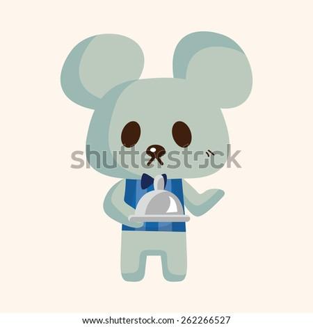 animal mouse waiter cartoon theme elements - stock photo