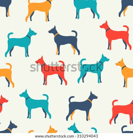 Animal seamless  pattern of dog silhouettes. Endless texture can be used for printing onto fabric, web page background and paper or invitation. Doggy style. White, blue, red and yellow colors. - stock photo