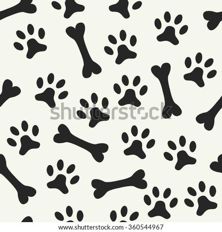 Animal seamless pattern of paw footprint and bone - stock photo