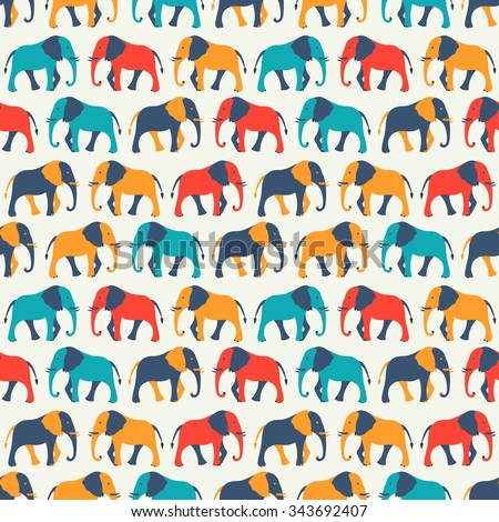 Animal seamless retro pattern of elephant silhouettes. Endless texture can be used for printing onto fabric, web page background and paper or invitation. White, blue, red and yellow colors. - stock photo