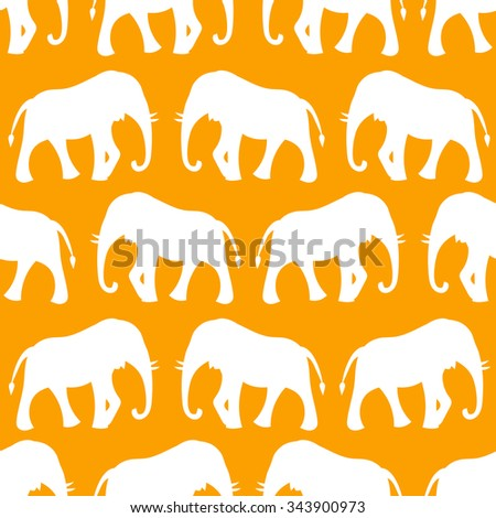 Animal seamless retro pattern of elephant silhouettes. Endless texture can be used for printing onto fabric, web page background and paper or invitation. White, orange colors. - stock photo