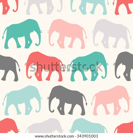 Animal seamless retro pattern of elephant silhouettes. Endless texture can be used for printing onto fabric, web page background and paper or invitation. Colorful. - stock photo