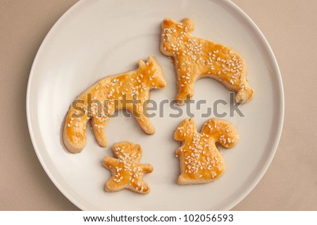 Animal shaped salty cookies - stock photo