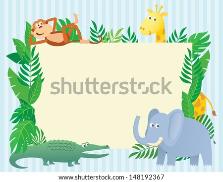 Animal themed illustration with blank sign board invitation - stock photo