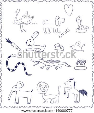 Animals. Doodle style - stock photo