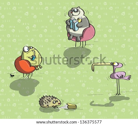 Animals Having Fun No.5 on green background. (for vector see image 97516784) - stock photo