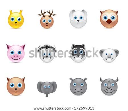 animals smile icons set collection - stock photo