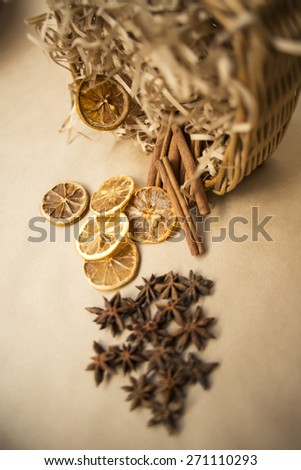 Anise and cinnamon, ingredients for preparation mulled wine - stock photo