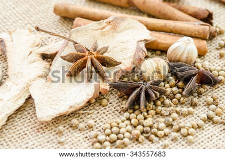 Anise, cardamom, nutmeg and cinnamon sticks on a sack background. Spices. - stock photo