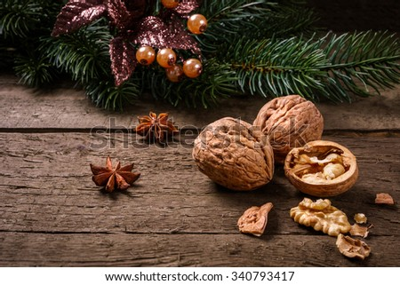 Anise, fir branch, cranberries and walnuts on wooden planks. You can use it for christmas background, card or voucher. - stock photo
