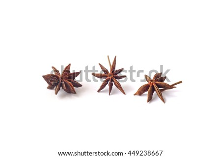 Anise star, a spicy and aromatic herb of Asia on desk white background . - stock photo